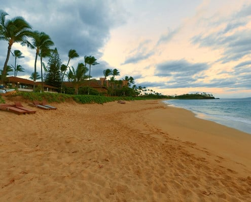 View of the beach in front of Aston Maui Kaanapali Villas